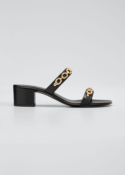 40mm Leather Block-Heel Sandals with Chain Detail