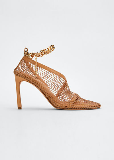 95mm Mesh/Leather Pumps with Ankle Chain