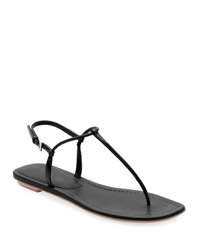 Flat Patent Leather Thong Sandals