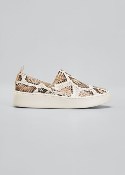 Saxon2 Snake-Print Leather Slip-on Sneakers