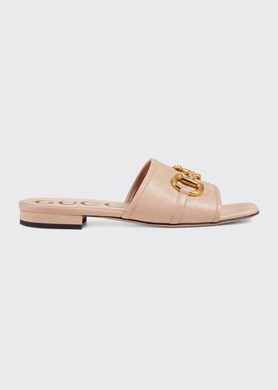 Deva Leather Slide Sandals With Horsebit