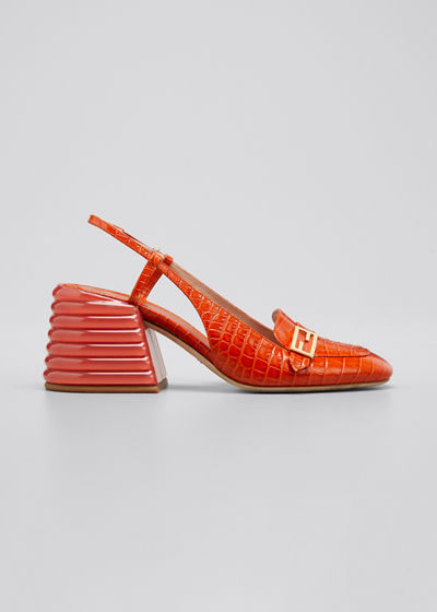 Croc-Embossed Leather Block-Heel Pumps