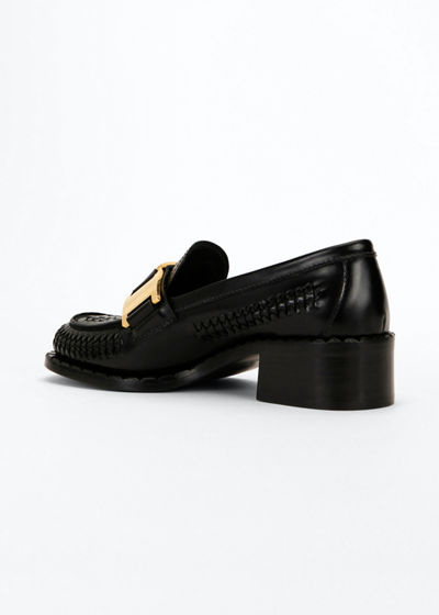 Woven Leather Golden Buckle Loafers