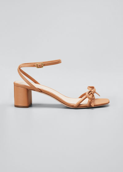 Gracie Leather Bow Ankle-Strap Sandals