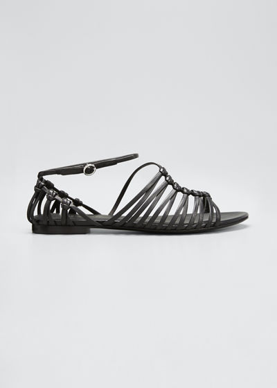 Lily Leather Asymmetrical Cage Flat Sandals