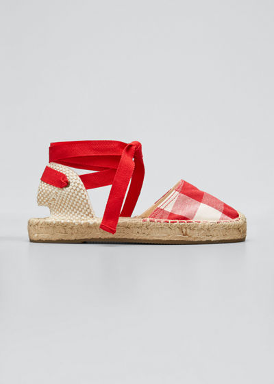 Lauren Gingham Ankle-Wrap Espadrille Sandals