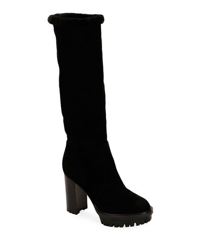 Suede Block-Heel Lined Knee Boots