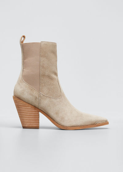 Faith Leather Square-Toe Western Booties