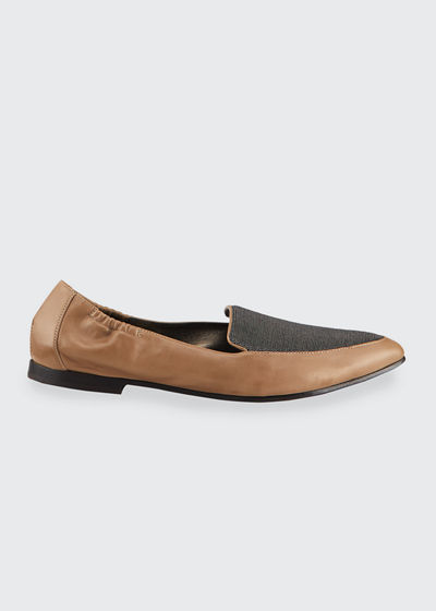 Soft Leather Loafer Flats With Monili Detail
