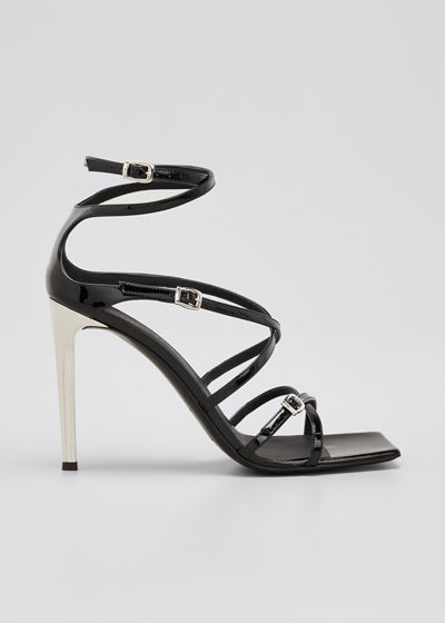 105mm Patent Strappy Square-Toe Sandals