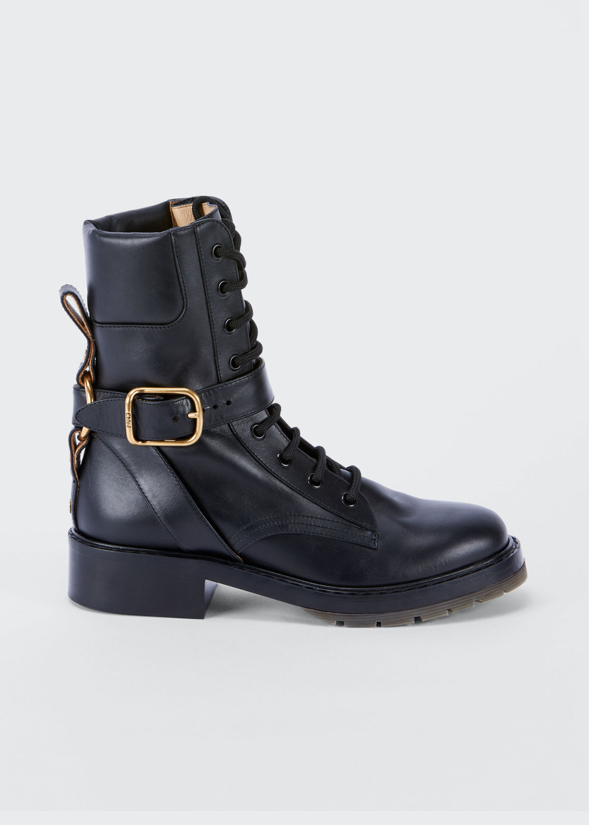 Chloé DIANE LACE-UP BUCKLE COMBAT BOOTIES