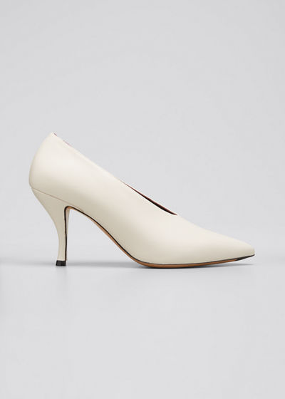 80mm Leather Pointed-Toe Pumps