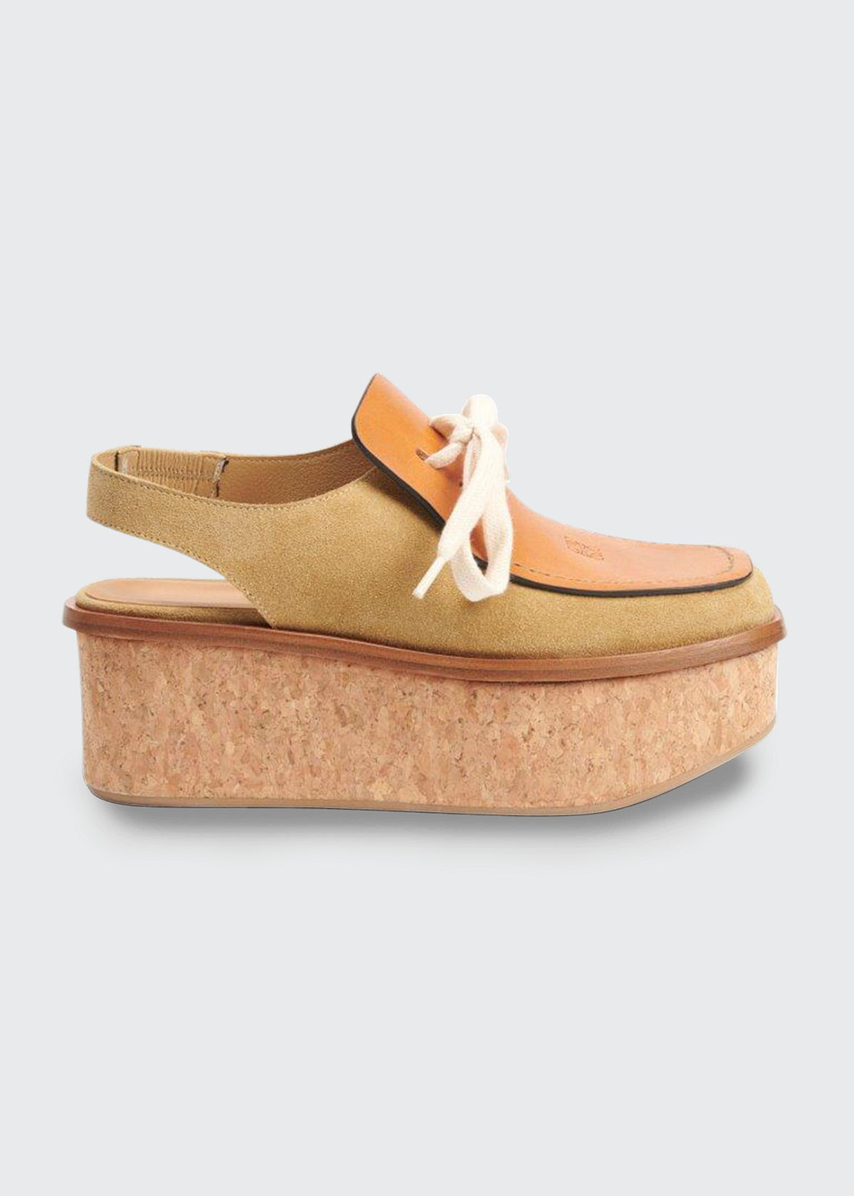 Loewe MIXED LEATHER CORK WEDGE SLINGBACK LOAFERS