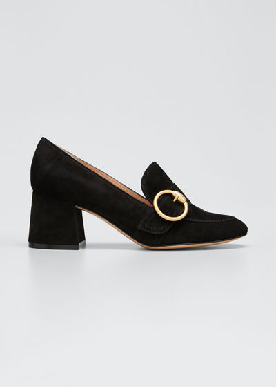 Suede Buckle Loafer Pumps