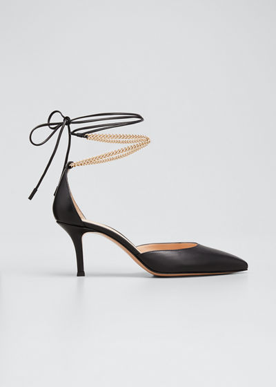 Kira Chain Ankle-Tie Pumps