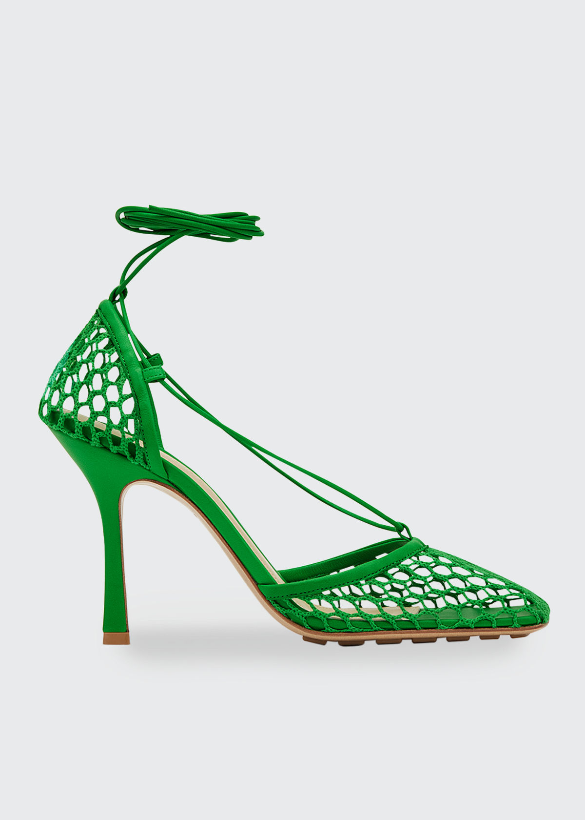 Bottega Veneta 90MM NET ANKLE-TIE PUMPS