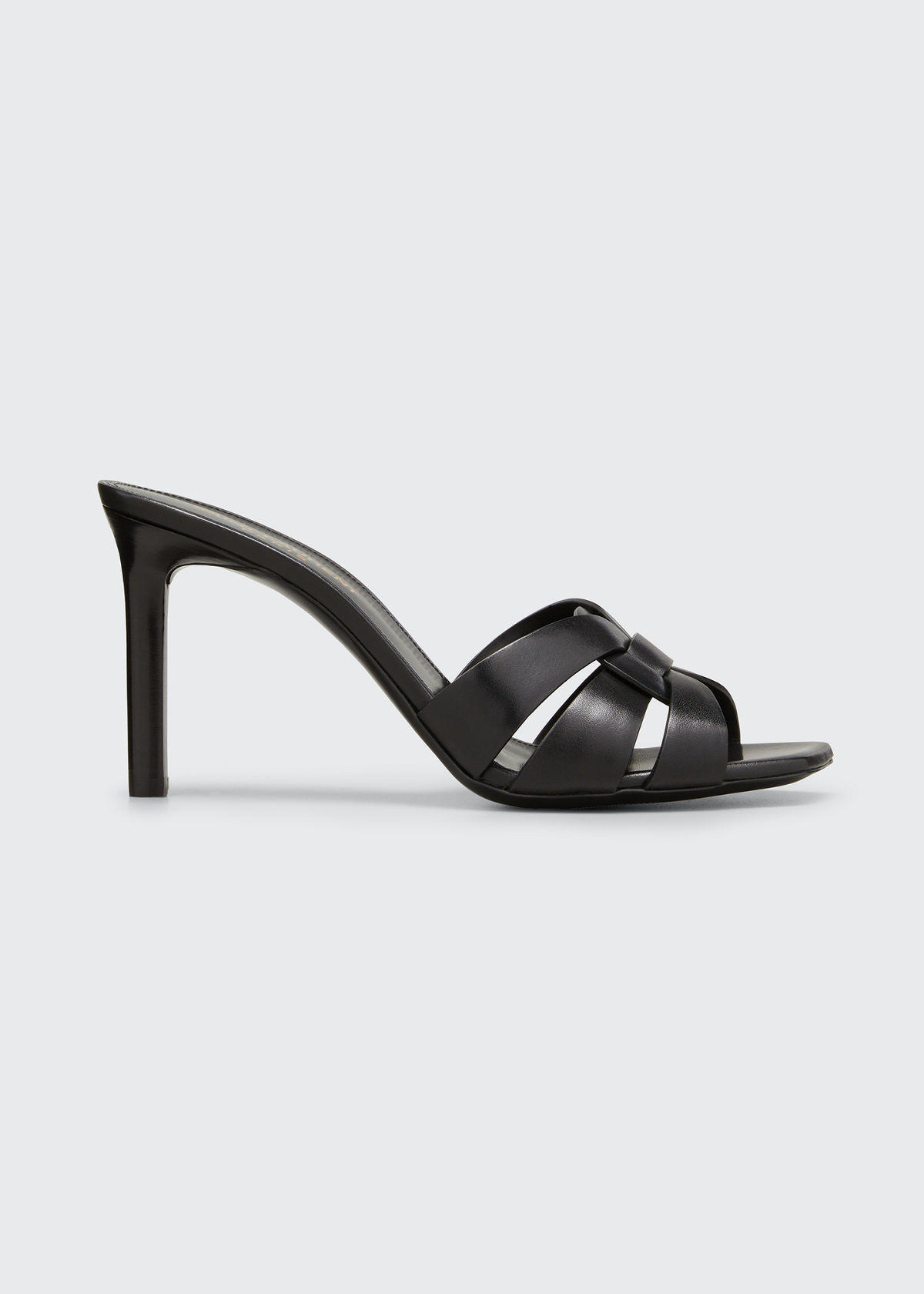 Saint Laurent TRIBUTE WOVEN CALFSKIN STILETTO SANDALS