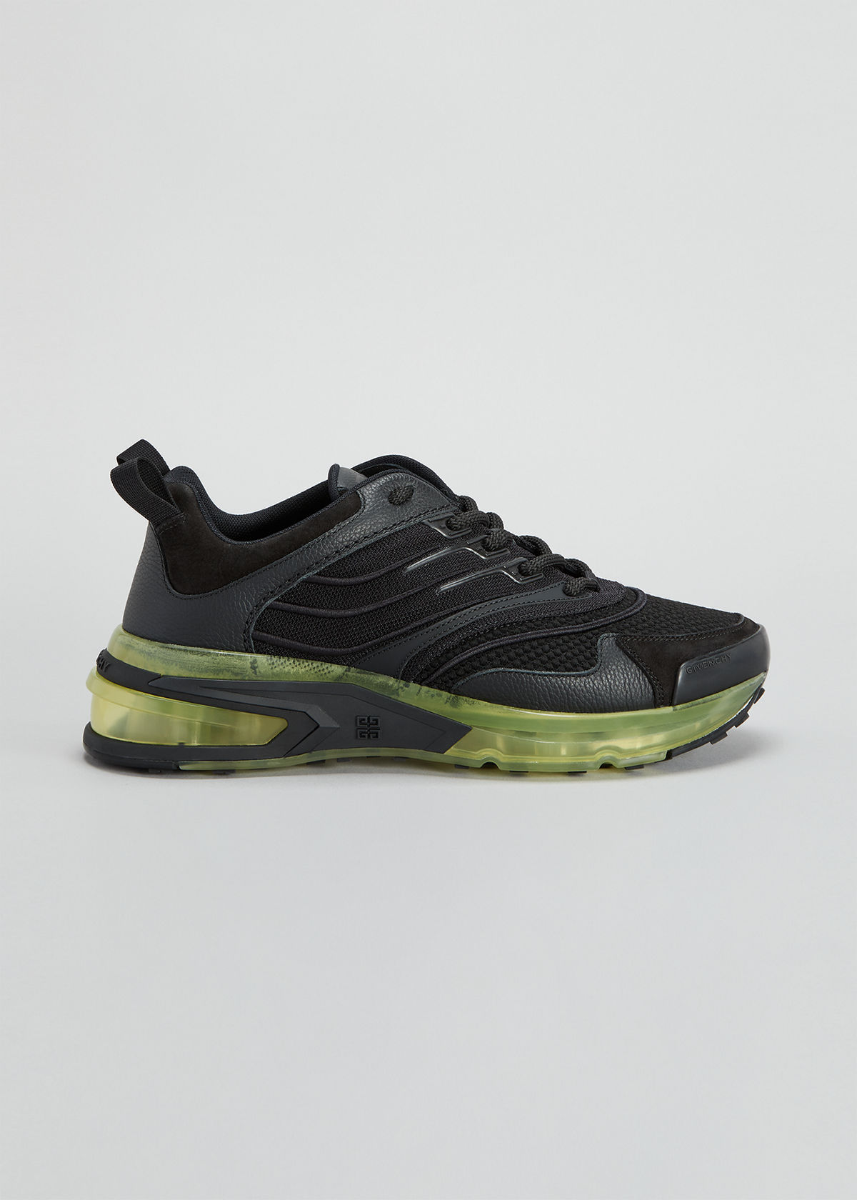 Givenchy MIXED LEATHER TRANSPARENT-HEEL RUNNER SNEAKERS