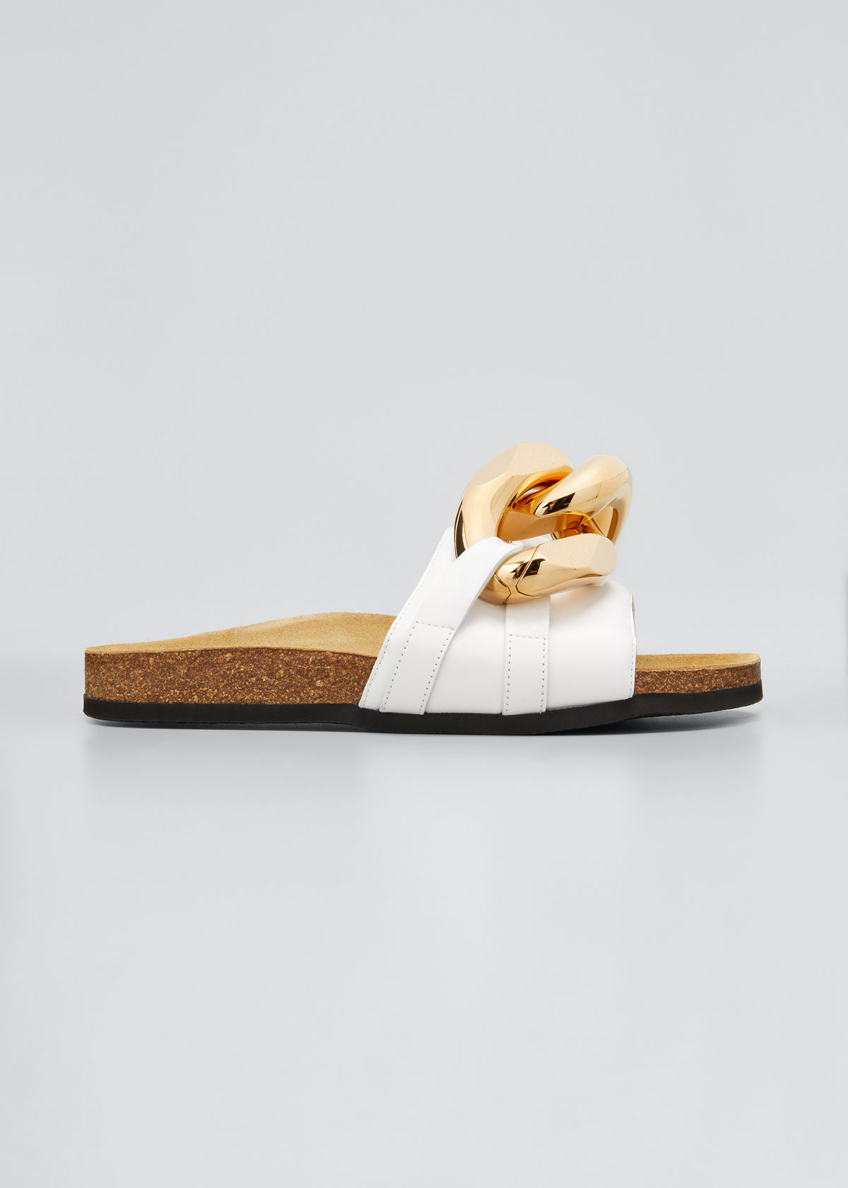 Jw Anderson Leathers LEATHER CHAIN SLIDE SANDALS