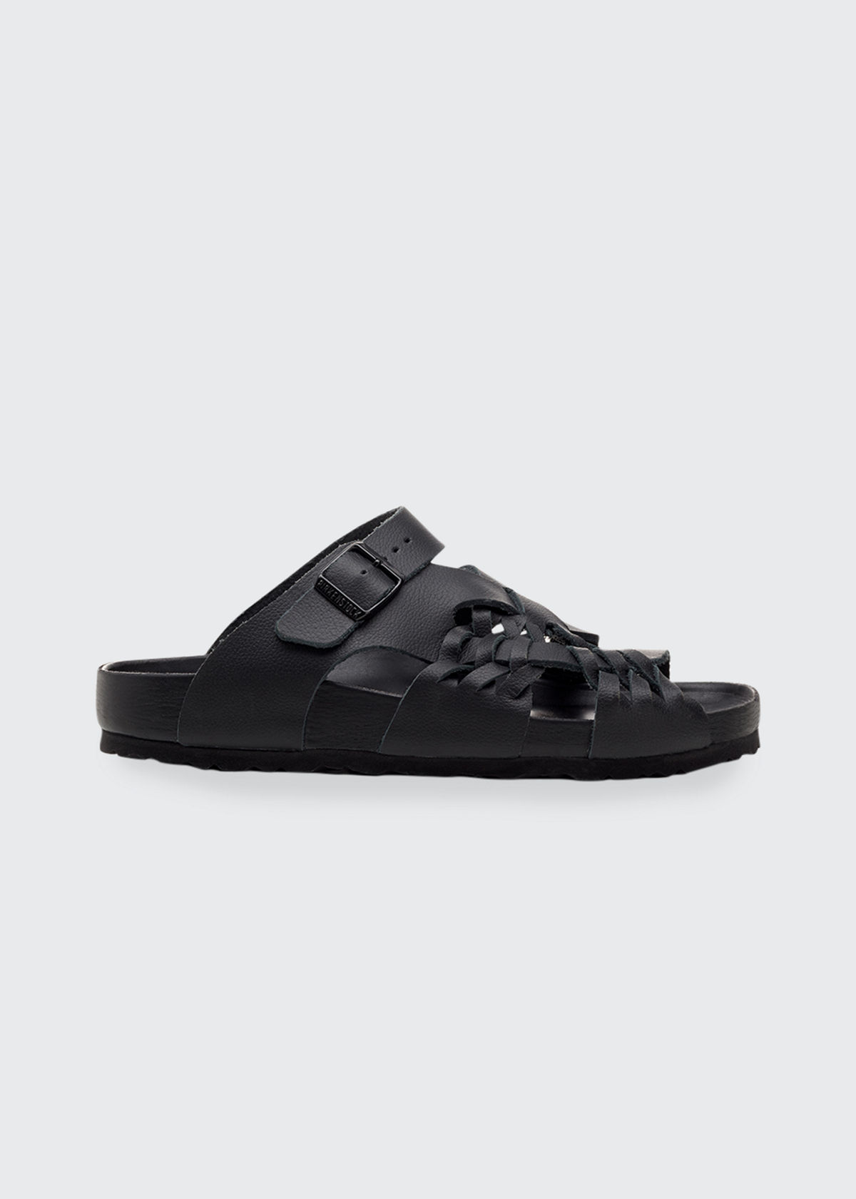 Birkenstock Shoes TALLAHASSEE WOVEN LEATHER SLIDE SANDALS, BLACK