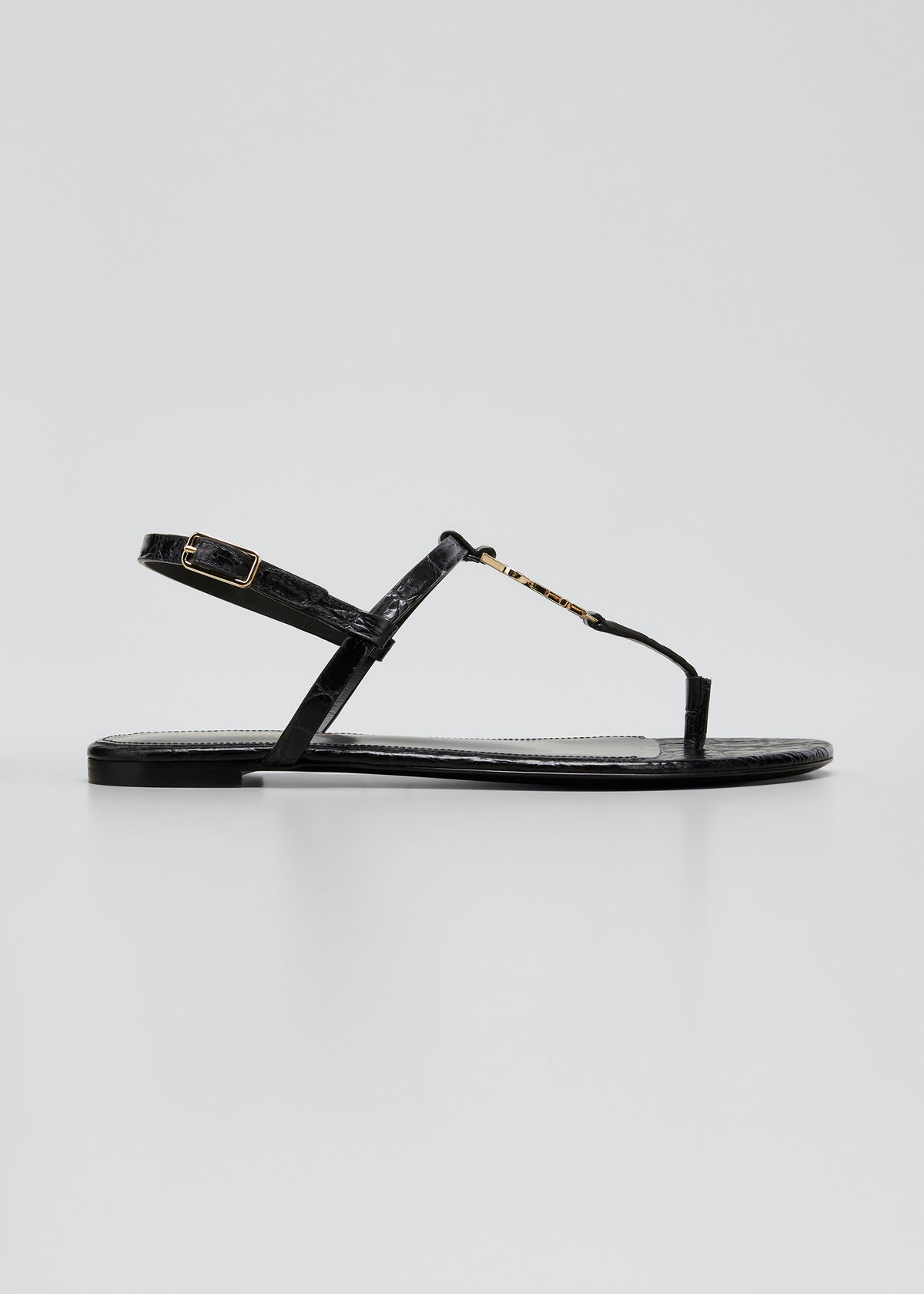 Saint Laurent CASSANDRA MOCK-CROC YSL SLINGBACK SANDALS