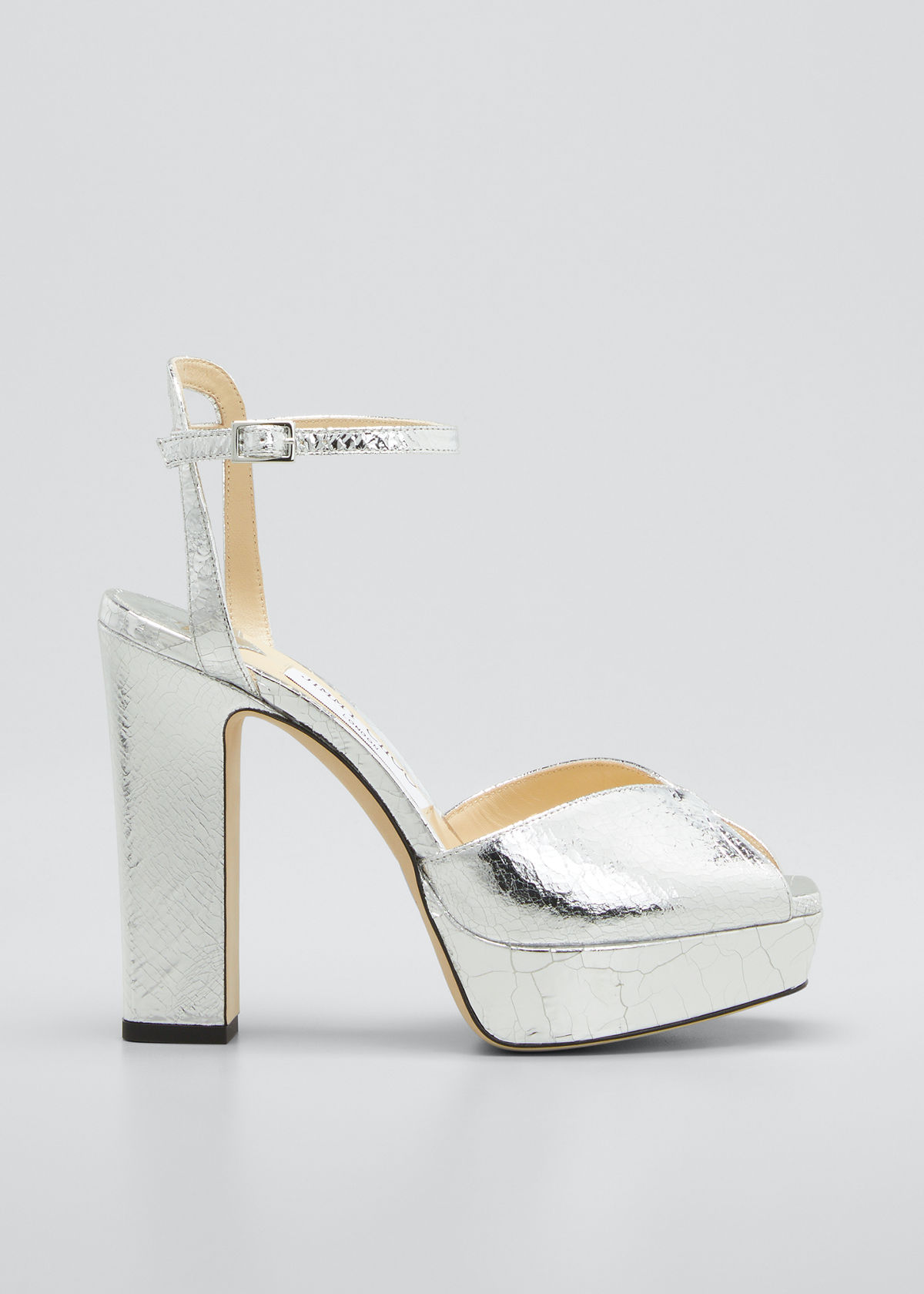 Jimmy Choo Sacaria 120mm Metallic Ankle-strap Platform Sandals In Silver