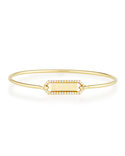 Personalized Prive Rectangle Bangle with Diamonds in 18K Gold