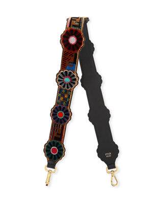 Strap You Tappetino Daisy Leather Guitar Bag Strap - Brown, Brown Pattern