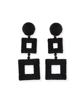 Oscar De La Renta Silk-Wrapped Double-Square Clip-On Earrings He536Uz