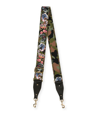 EMBROIDERED BUTTERFLY ROCKSTUD LEATHER GUITAR STRAP - GREEN
