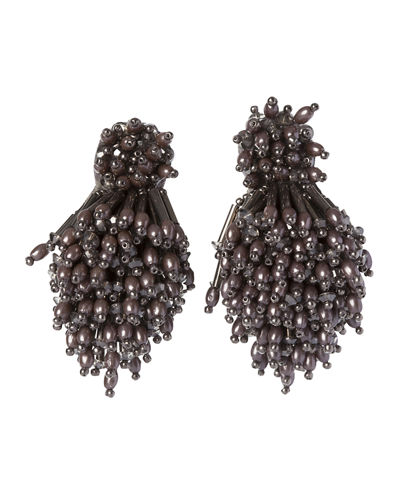 Burst Beaded Statement Earrings, Gray
