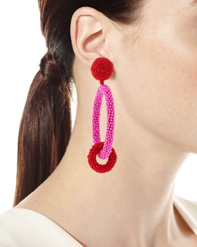 Two-Tone Beaded Hoop Clip-On Earrings