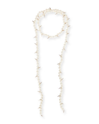 FALLON Linda Pearly Spike Lariat Necklace in Gold