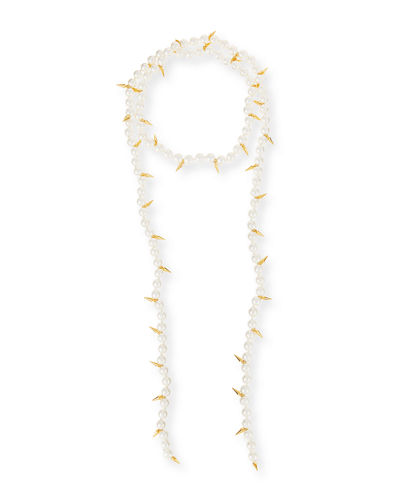Fallon Linda Pearly Spike Lariat Necklace