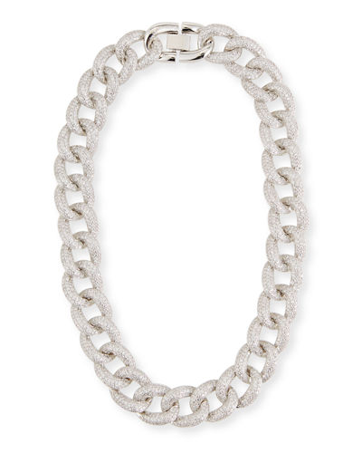 Armure Cubic Zirconia Pave Curb Chain Collar Necklace, Extra Large