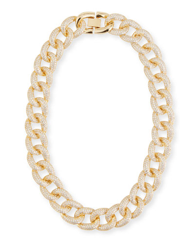 Armure Cubic Zirconia Pave Curb Chain Collar Necklace  Extra Large