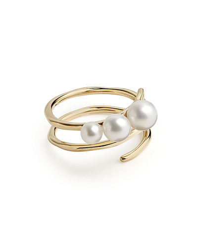 18k Nova Spiral Triple-Bead Ring