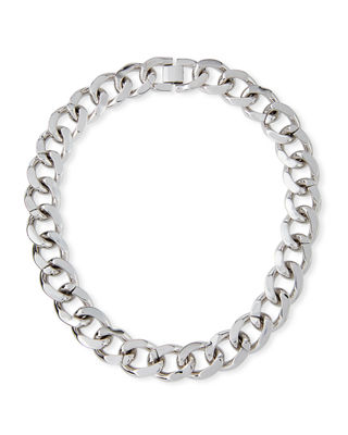 FALLON Armure Extra-Large Curb Chain Collar in Silver