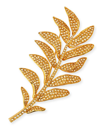 Crystal Pave Leaf Brooch