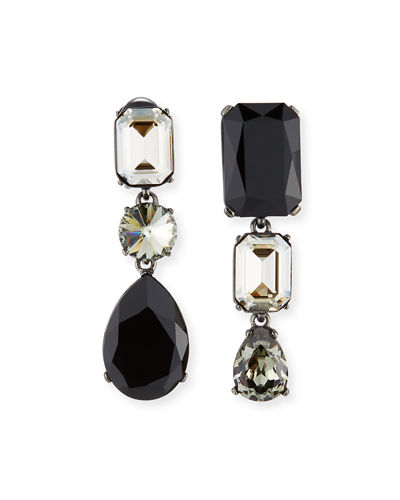 Bold Crystal 3-Drop Clip-On Earrings