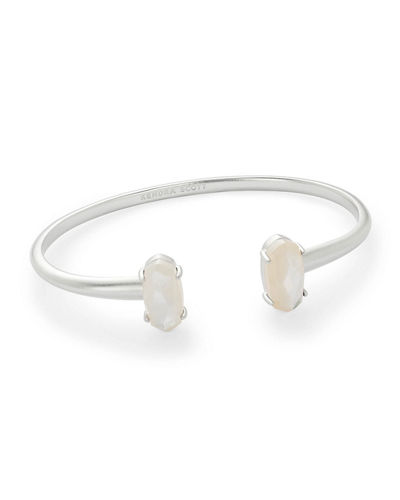 Edie Two-Stone Bangle Bracelet in Rhodium