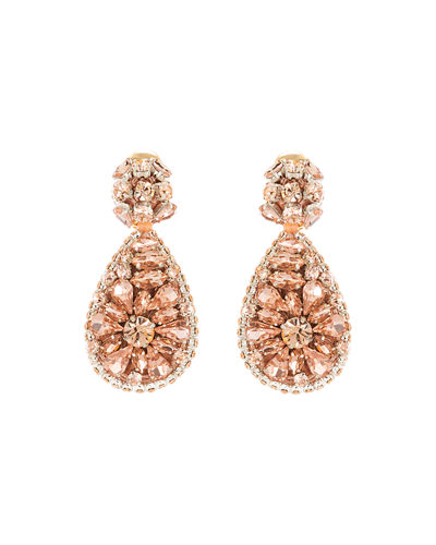 Jeweled Teardrop Clip-On Earrings
