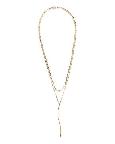 14kt Yellow Gold Mini Marquise Drop Lariat Adjustable Necklace