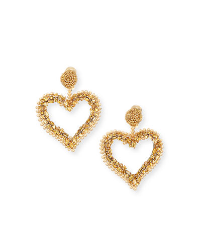 Beaded Heart Clip-On Earrings