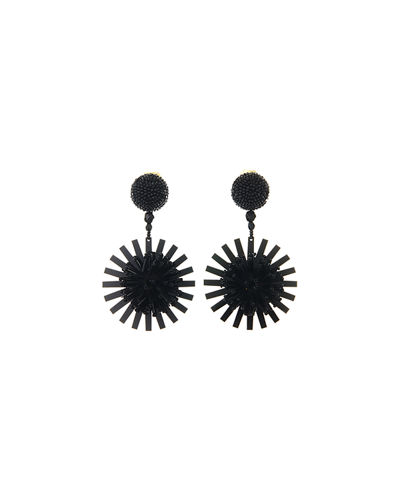 Pompom Flower Beaded Earrings