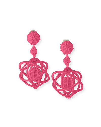 Embroidered Globe Clip-On Earrings