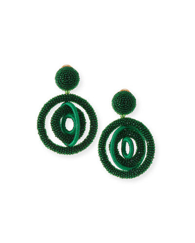 Triple Beaded Clip-On Hoop Earrings