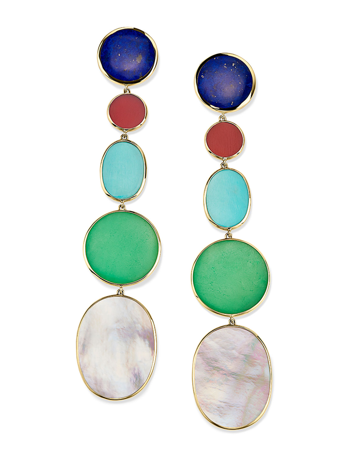 Ippolita Accessories 18K POLISHED ROCK CANDY LONG LINEAR EARRINGS IN VIAREGGIO