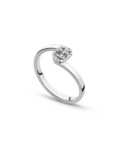 Running G Stacking Ring with Diamonds in 18K White Gold, Size 6.75