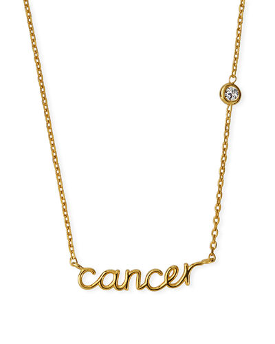 Zodiac Script Necklace w/ Single Cubic Zirconia